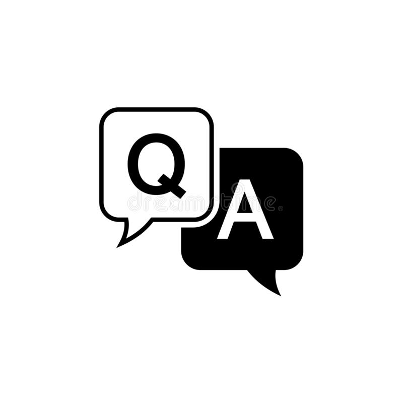 Question and answer icon in flat style. Discussion speech bubble vector illustration on white background. Question. Answer business concept stock illustration