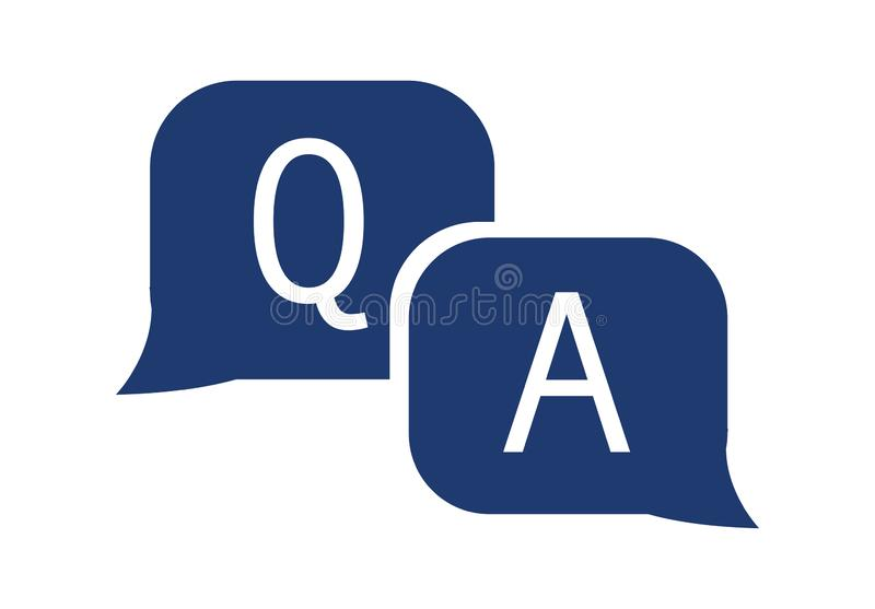 Question and answer icon in flat style. Discussion speech bubble vector illustration on white isolated background. stock illustration