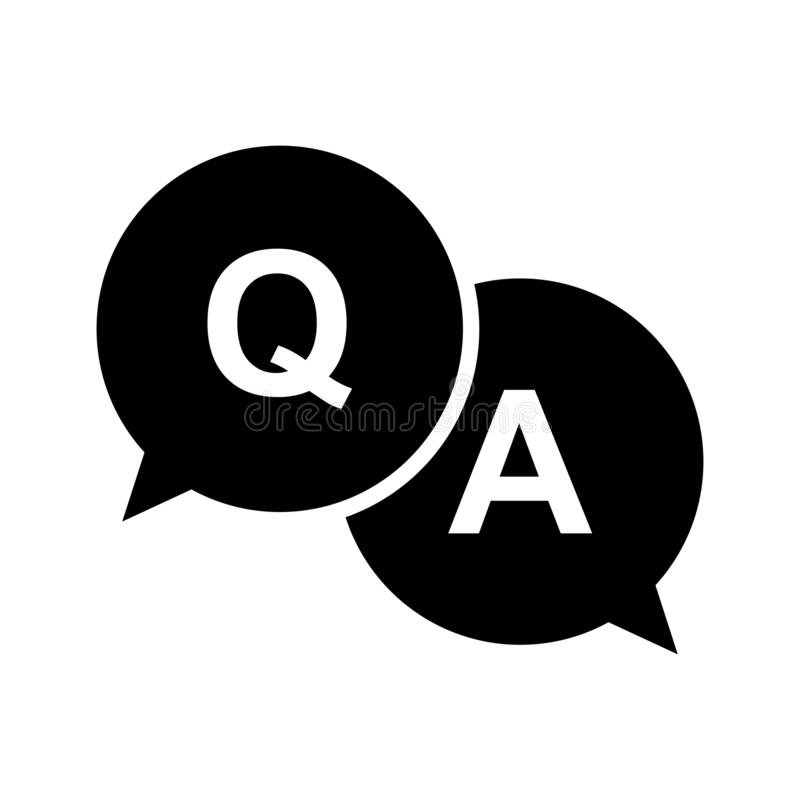 Question and answer icon in flat style. Discussion speech bubble on white isolated background. Question, answer business concept. vector illustration