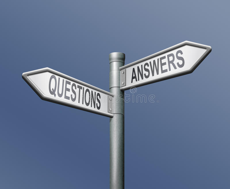Question answer questions answers solutions. Road sign with two arrows answers and questions solutions sign post indicating opposite directions make the choice royalty free illustration