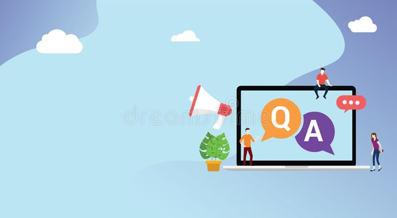 Question and ask or qa for customer support with free space for text and laptop and people with megaphone icon vector illustration