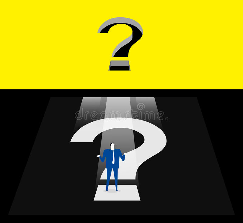 Question box. A business person was trapped in a dark question box vector illustration
