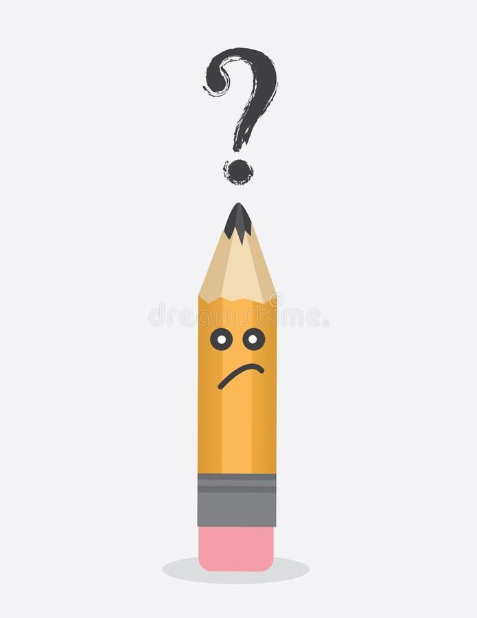 Question de caractère de crayon illustration de vecteur