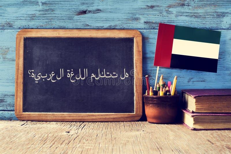 Question do you speak Arabic? written in Arabic royalty free stock photos