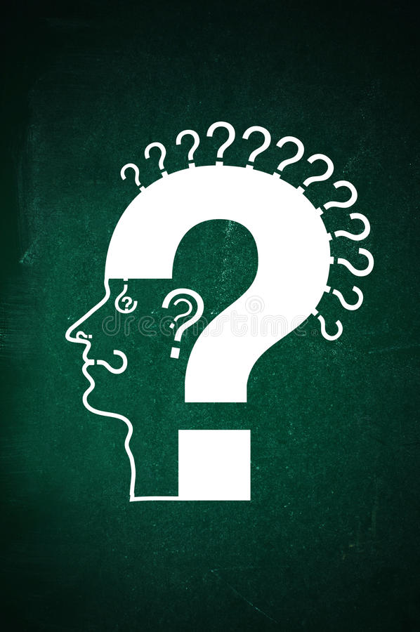 Question everything. Human head made of question marks on a green chalkboard. Qusetion everything concept: thoughts; look; smell; hear; speak stock image