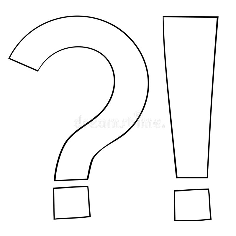 Question and Exlamation marks. Outline icon vector illustration