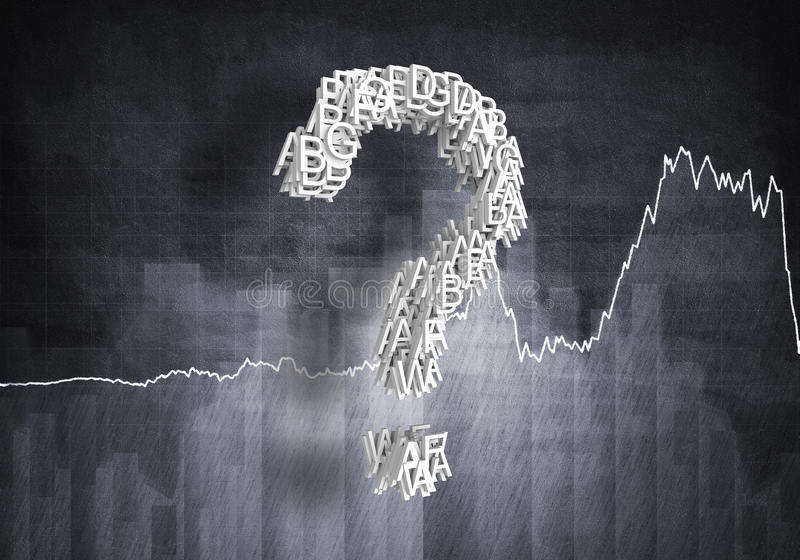 Question of financial growth, 3d rendering. Big question mark on graphs and diagrams background, 3d rendering royalty free stock images