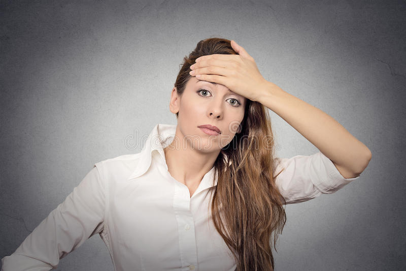 Question headache doubt royalty free stock photos