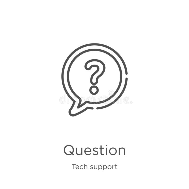 question icon vector from tech support collection. Thin line question outline icon vector illustration. Outline, thin line vector illustration