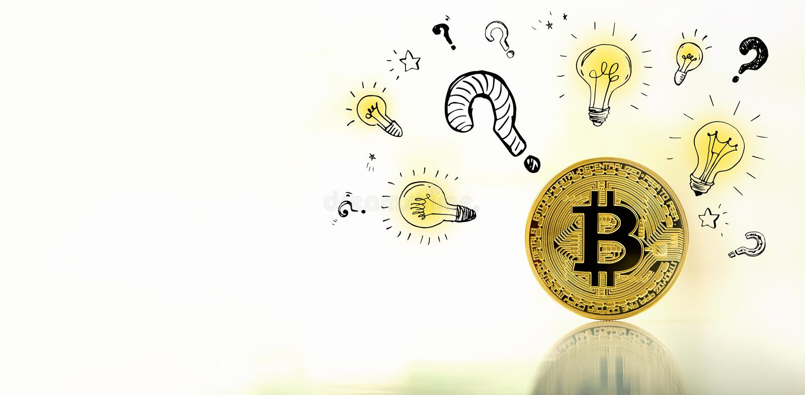 Question with light bulbs with bitcoin stock image