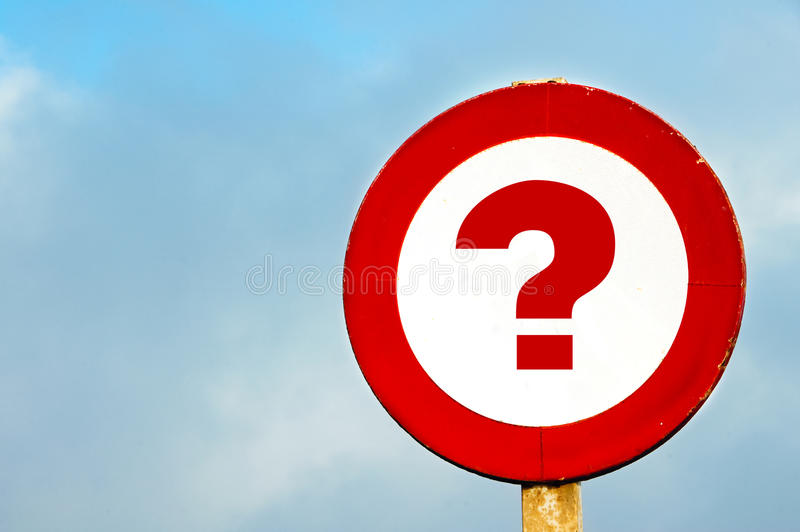 Question mark. A question mark drawn in a traffic sign stock photo