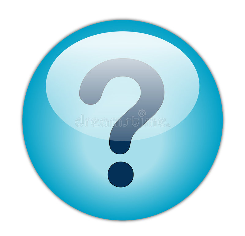 Question Mark. The glassy blue Question Mark button