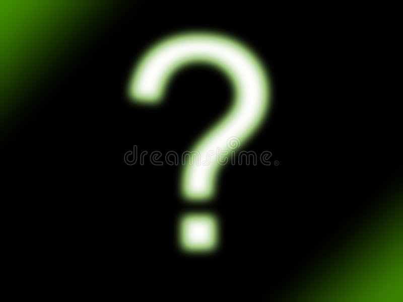 Question mark. In green neon glow style stock illustration