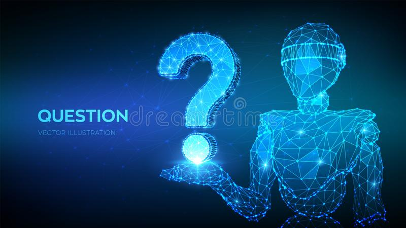 Question mark. Abstract 3d low polygonal robot holding Question sign. Ask symbol. Help support, faq problem, think education vector illustration