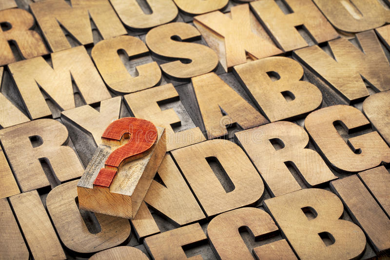 Question mark and alphabet in wood type. Question mark and alphabet in vintage letterpress wood type printing blocks stained by ink royalty free stock image