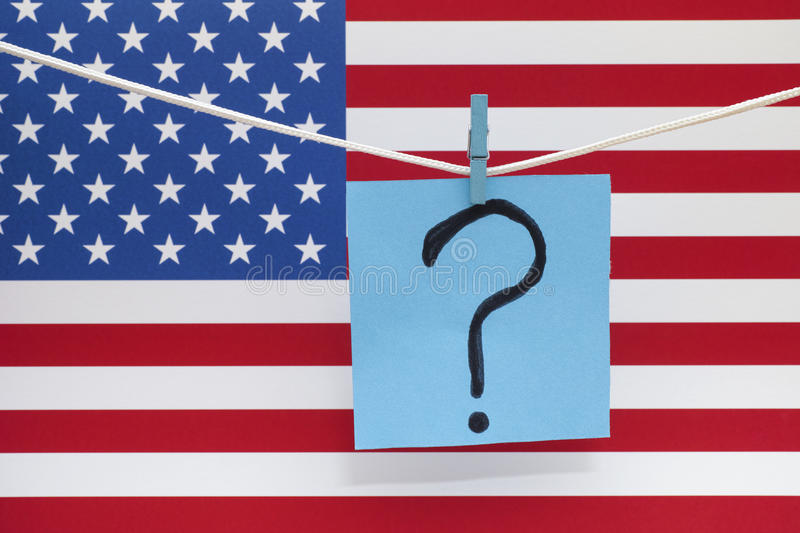 Question mark and american flag. Close up royalty free stock photos
