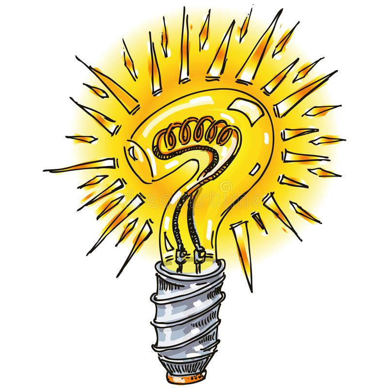 Question mark as a light bulb royalty free illustration