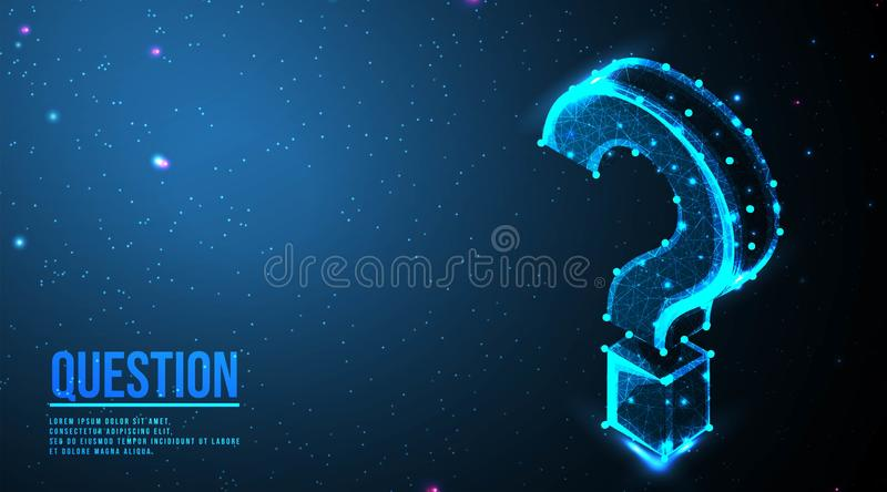 Question mark. Ask symbol. Help support, faq problem symbol, think education concept, confusion search.  futuristic low poly. Wireframe mesh design. from royalty free illustration