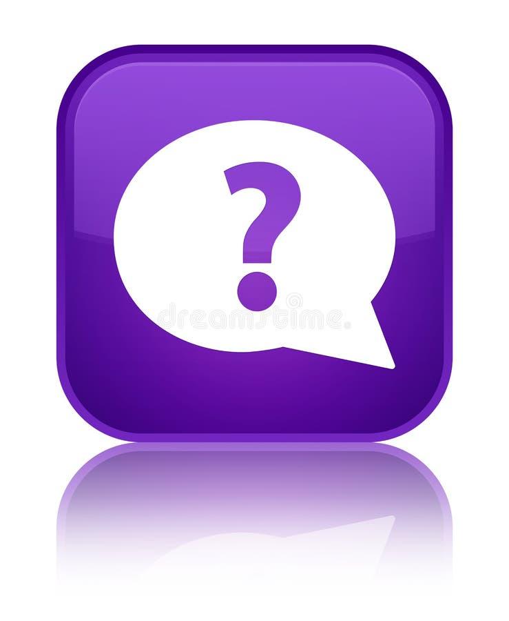 Question mark bubble icon special purple square button vector illustration
