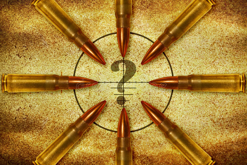 Question mark and bullets stock photo