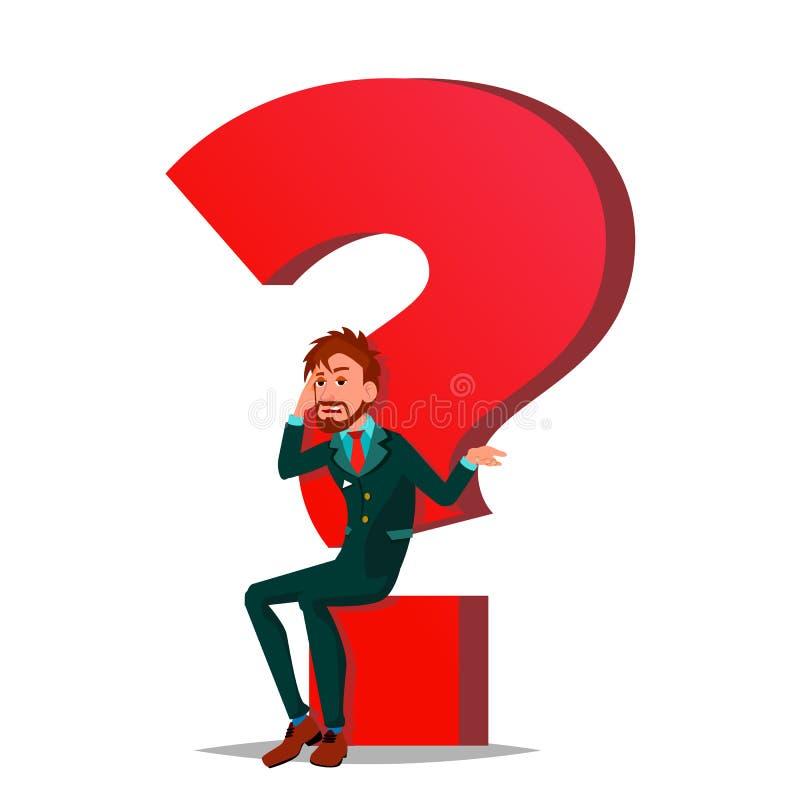 Question Mark Businessman Vector Tâche, concept d'heure Trouvez le nouveau travail Point d'interrogation rouge énorme Illustratio illustration de vecteur