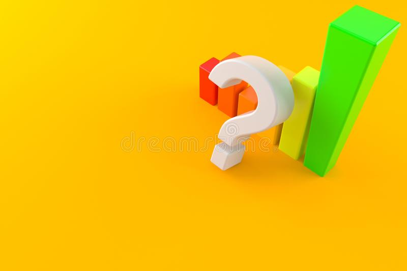 Question mark with chart stock illustration