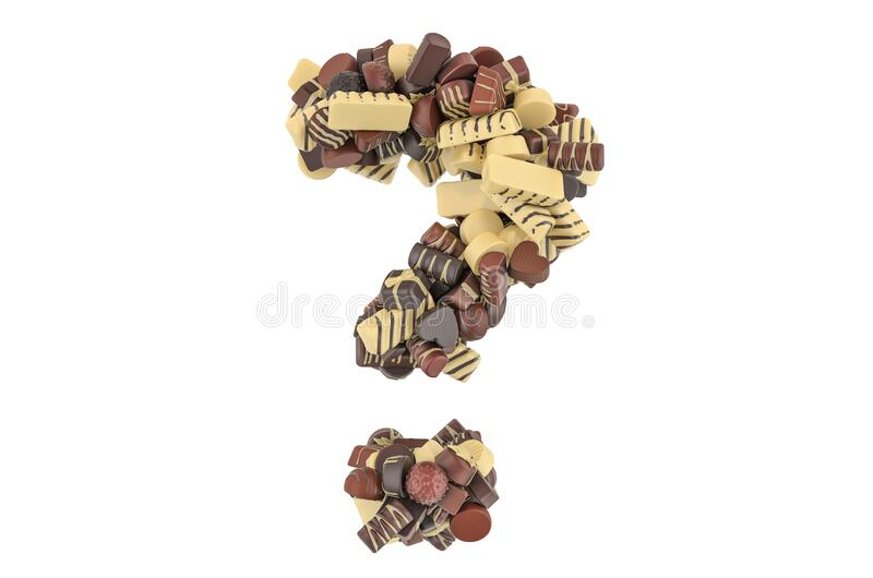 Question mark from chocolate candies. 3D rendering. Isolated on white background royalty free illustration