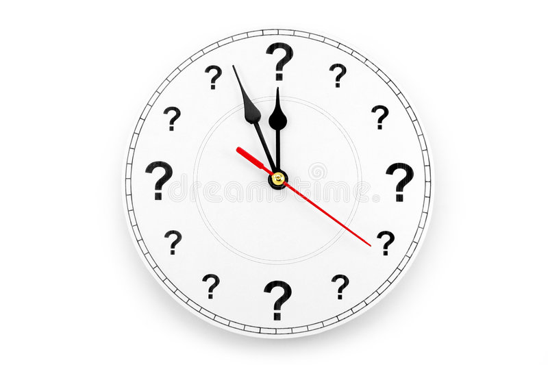 Question mark clock stock image