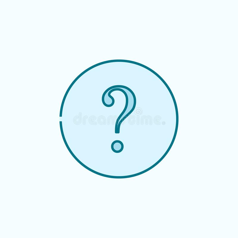 Question mark 2 colored line icon. Simple colored element illustration. question mark outline symbol design from web icons set on. Blue background stock illustration