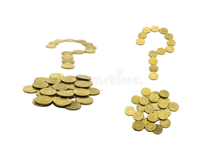 Question mark composed of 10 EURO coins. Isolated. White background royalty free stock image