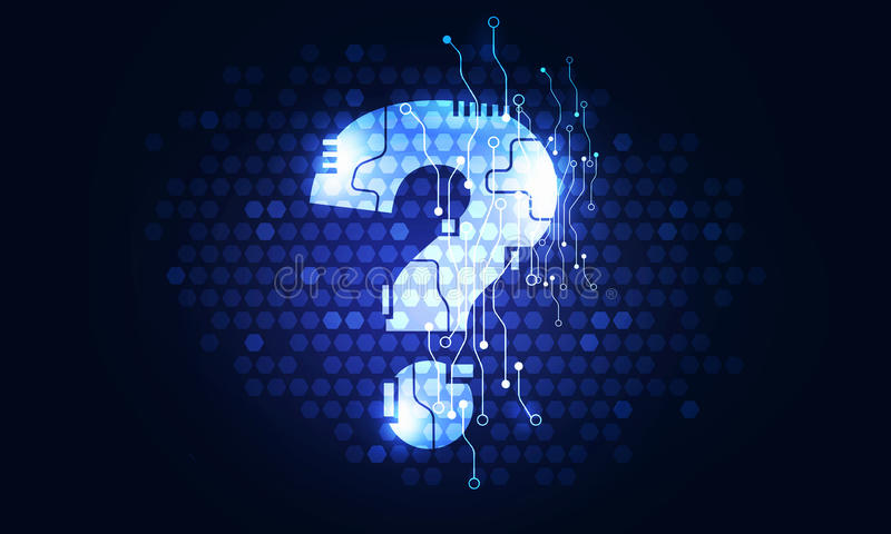 Question mark on curcuit board. Glowing question mark icon on digital dark background royalty free stock image