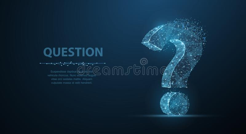 Question mark. 3d abstract vector on dark blue background with dots and stars. Ask symbol. Help support, faq problem symbol, think education concept, confusion stock illustration