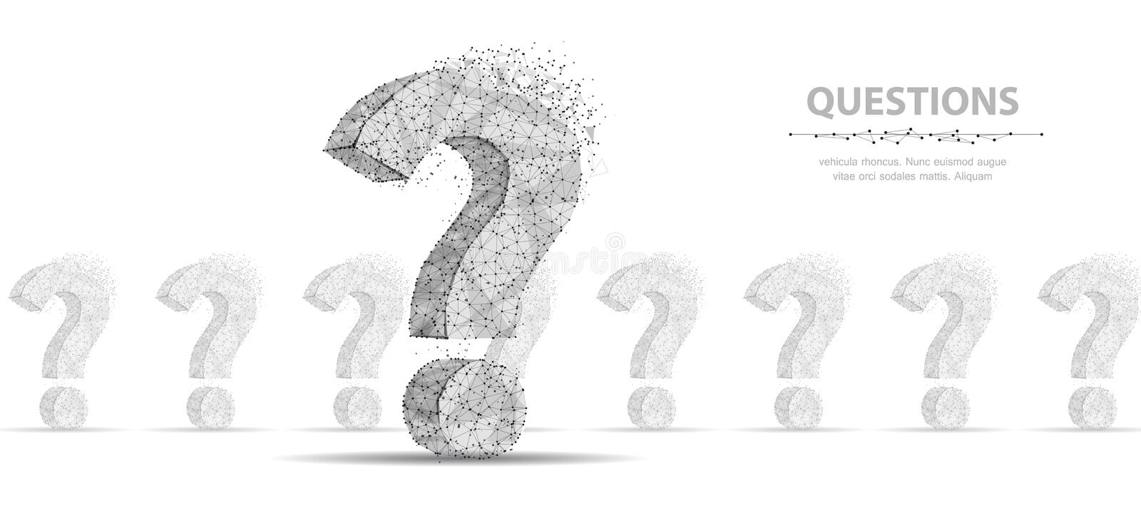 Question mark. 3d abstract vector illustration isolated on white background. Ask symbol. stock illustration