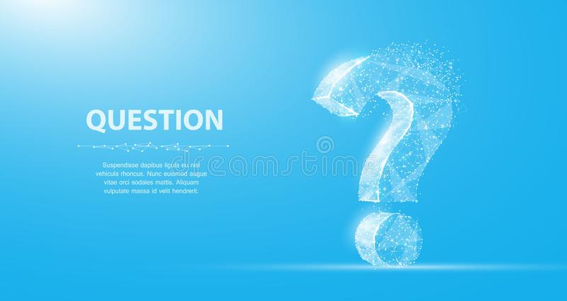 Question mark. 3d abstract vector isolated on blue with dots and stars. Ask symbol. vector illustration