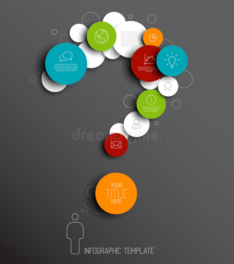 Question mark - dark Vector abstract circles infographic template royalty free illustration