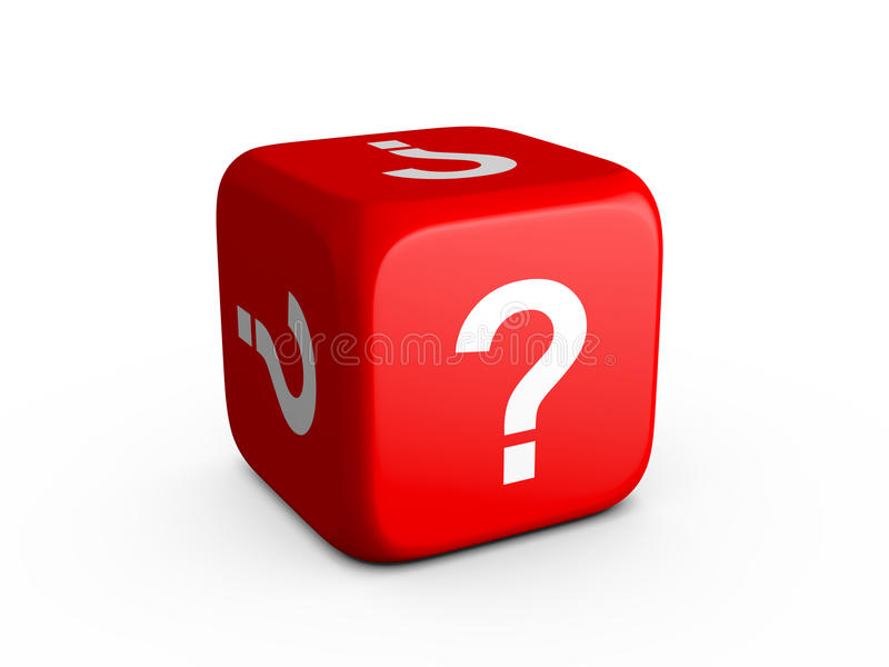 Question Mark Dice. Red dice with question mark on isolated white background stock illustration