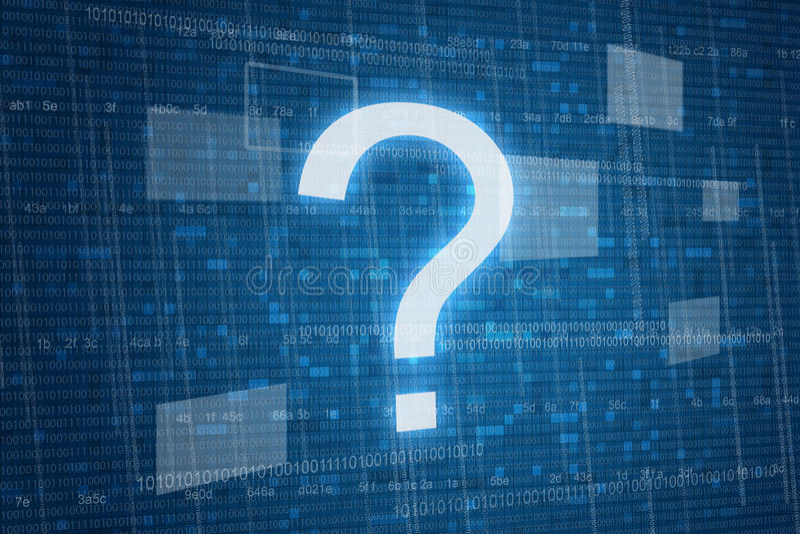 Question mark. On digital background