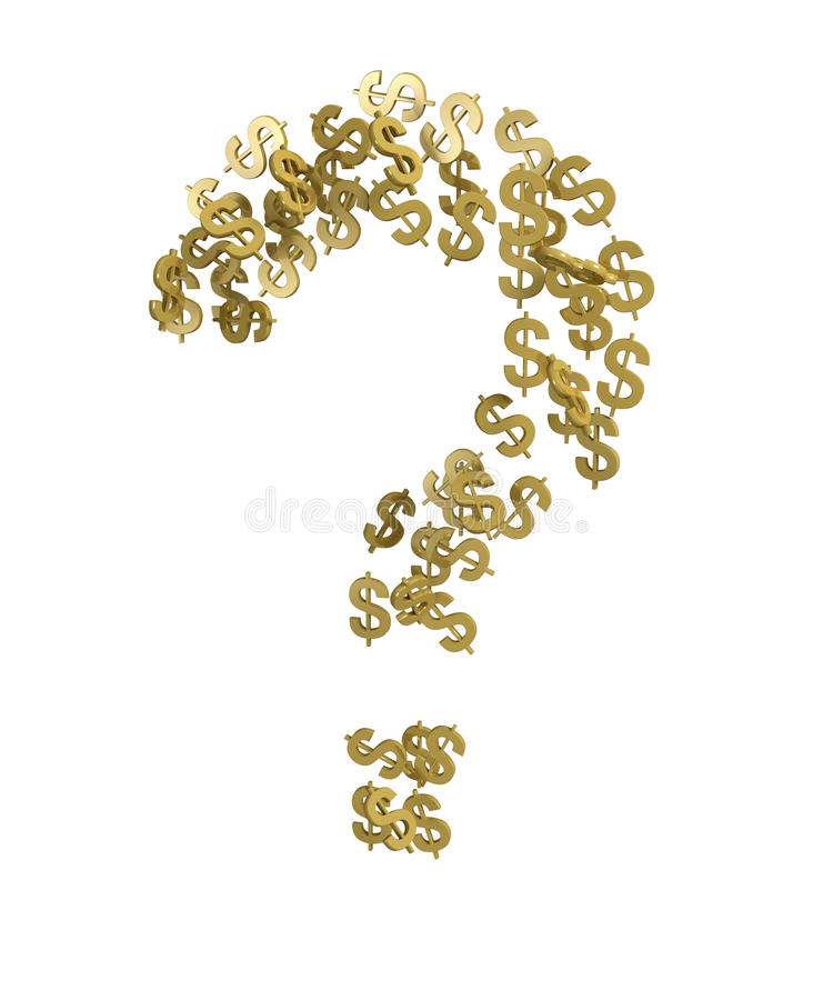 Question mark with dollar symbol isolated royalty free stock photo