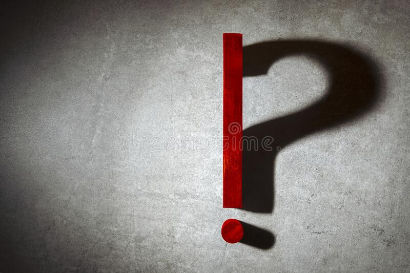 Question mark, exclamation point concept question or solution stock photo