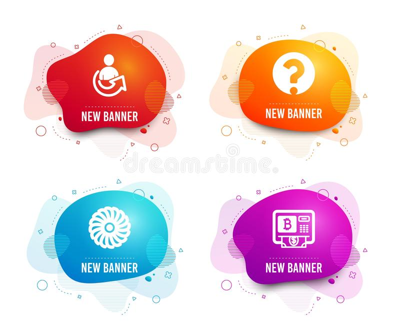 Question mark, Fan engine and Share icons. Bitcoin atm sign. Ask support, Ventilator, Referral person. Vector stock illustration
