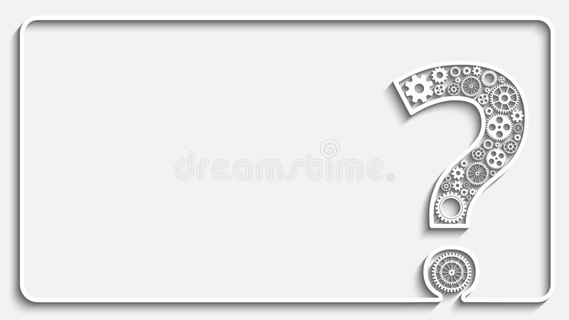 Question mark from gears. Creative Question mark with gears. Creative frame. Eps10 vector for your design royalty free illustration