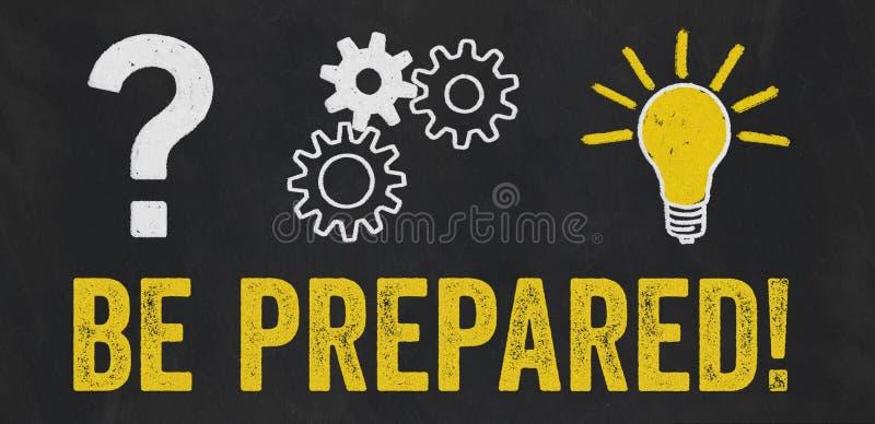 Question Mark, Gears, Light Bulb Concept - Be prepared stock illustration
