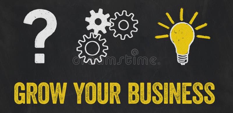 Question Mark, Gears, Light Bulb Concept - Grow your business vector illustration
