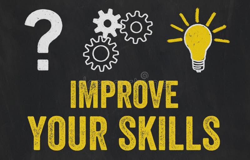 Question Mark, Gears, Light Bulb Concept - Improve your skills stock illustration