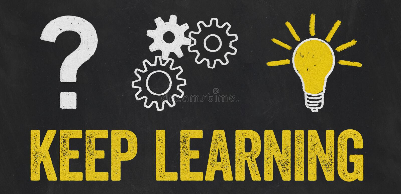 Question Mark, Gears, Light Bulb Concept - Keep learning vector illustration