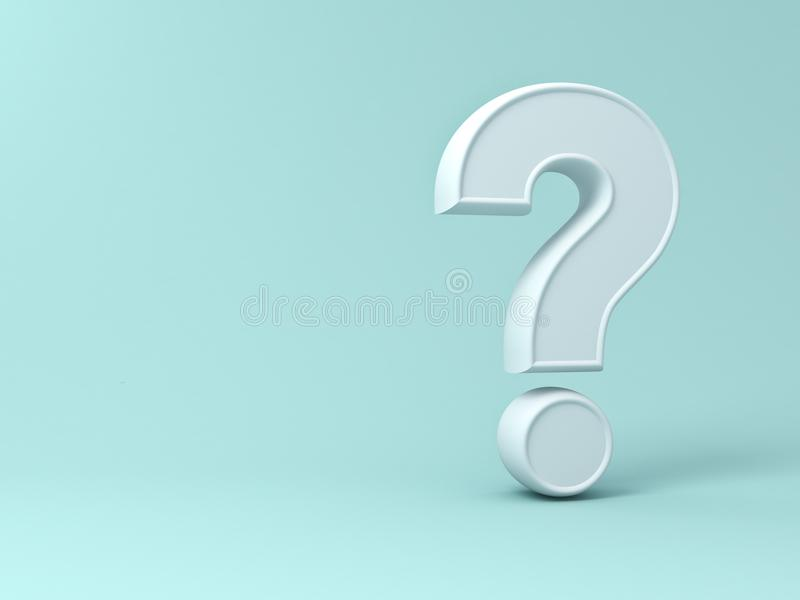 Question mark on green pastel color background with shadow and blank space vector illustration