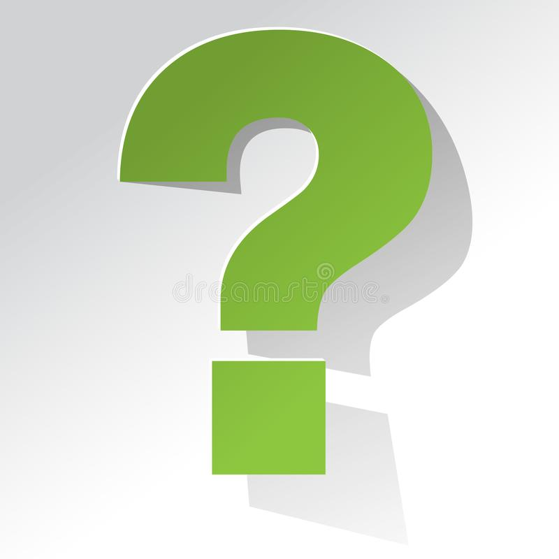Question Mark green on a white background royalty free illustration