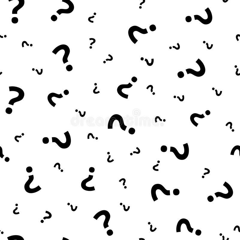 Question mark grunge seamless pattern. Query marks random vector repeat background royalty free illustration