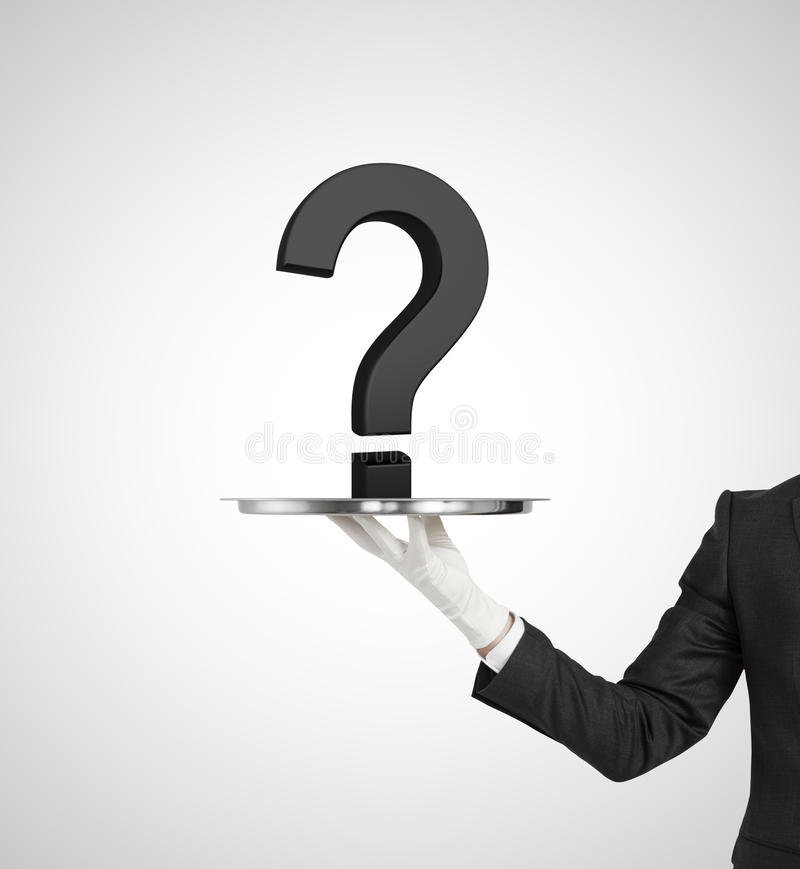 Question mark. Hand holding silver plate with question mark royalty free stock images