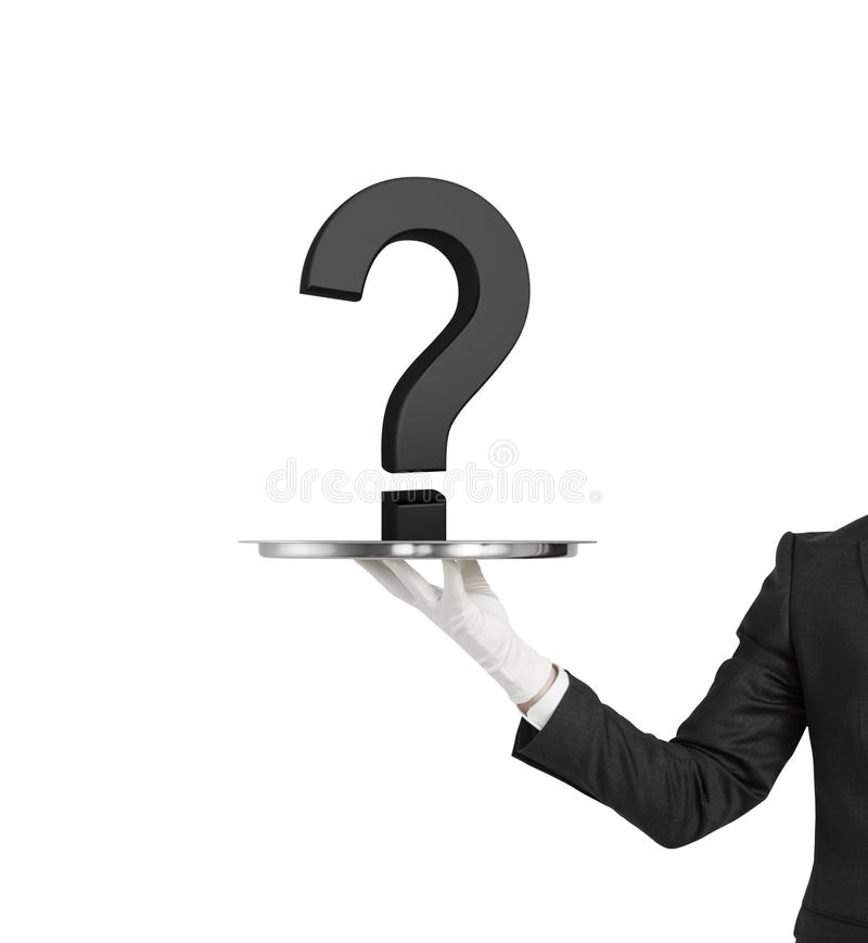 Question mark. Hand holding silver plate with black question mark royalty free stock photo